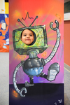 2018 Family Reading Night: Robot face cutouts by Marcail McBride '21