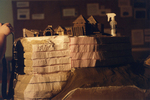 Siege of Fort Saint Louis des Illinois 1684: students constructing a diorama